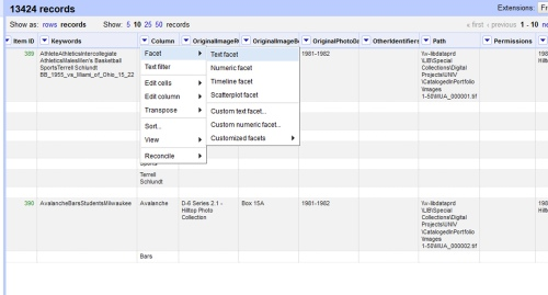 Using OpenRefine to facet a column for further analysis