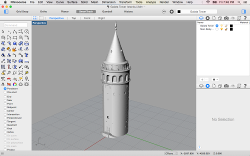 3D model of the Galata Tower in Istanbul in Rhinoceros